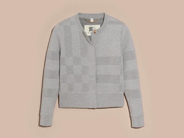Mid grey melange Check Knit Wool Blend Cardigan - cell image 2