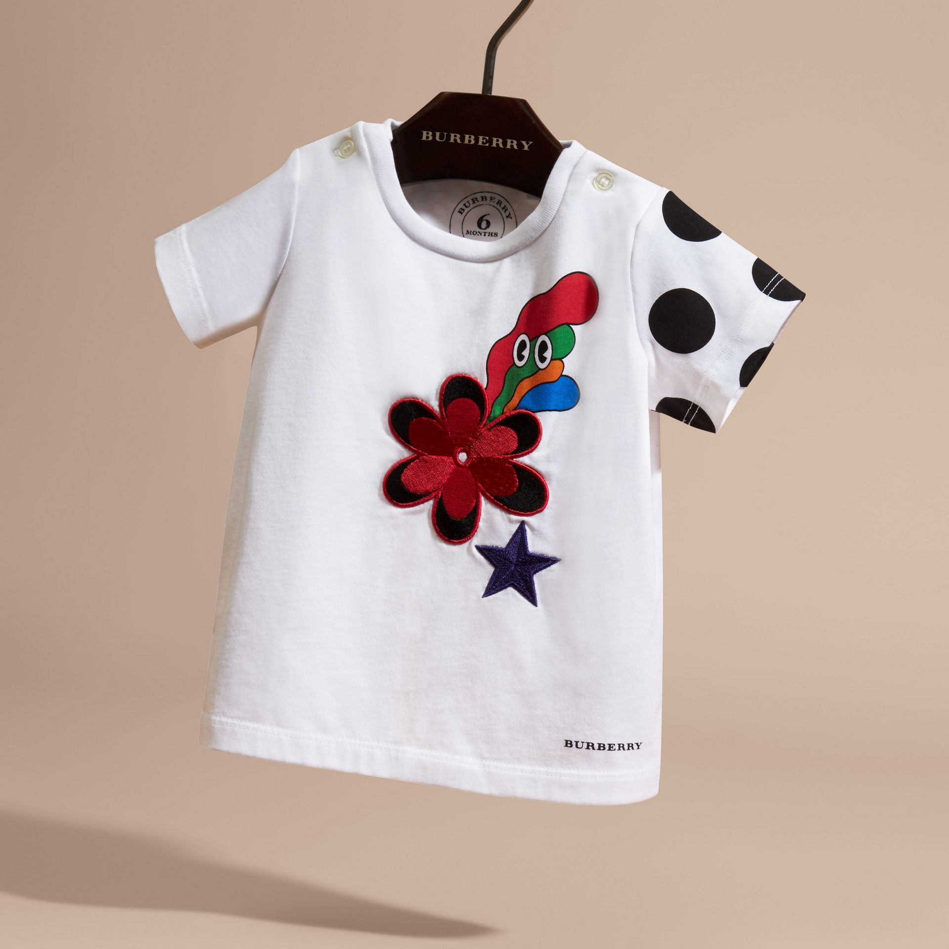 Embroidered Flower Burst Graphic Cotton T-Shirt - gallery image 3
