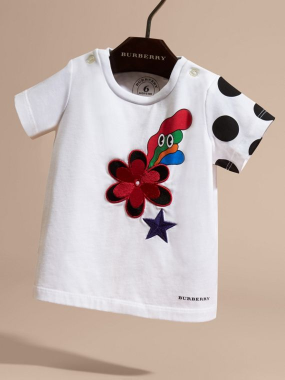 Embroidered Flower Burst Graphic Cotton T-Shirt - cell image 2