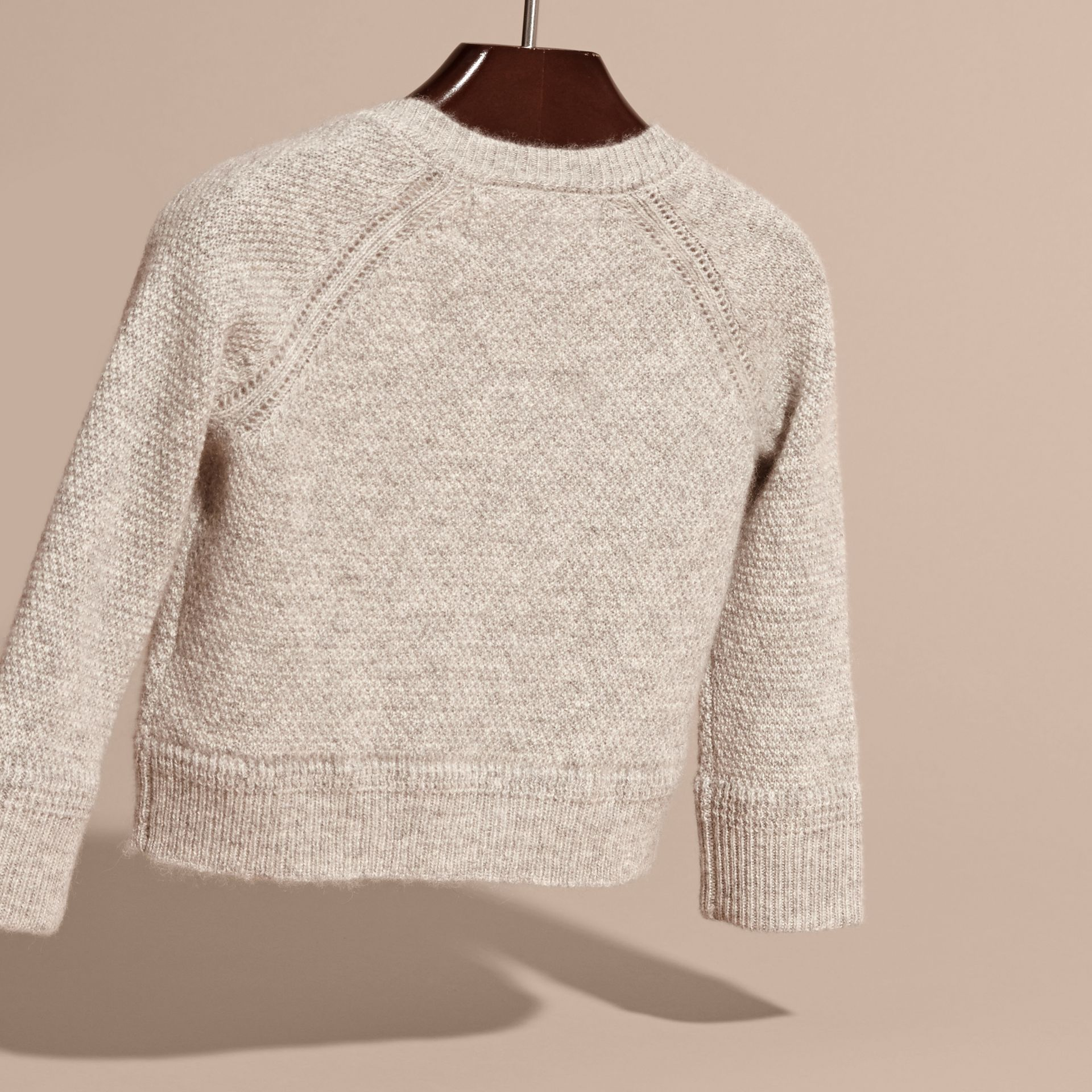 Textured Knit Cashmere Cardigan in Light Grey Melange | Burberry - gallery image 4