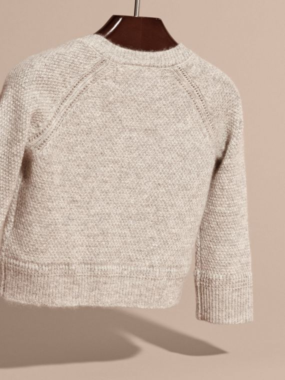 Textured Knit Cashmere Cardigan in Light Grey Melange | Burberry Australia - cell image 3