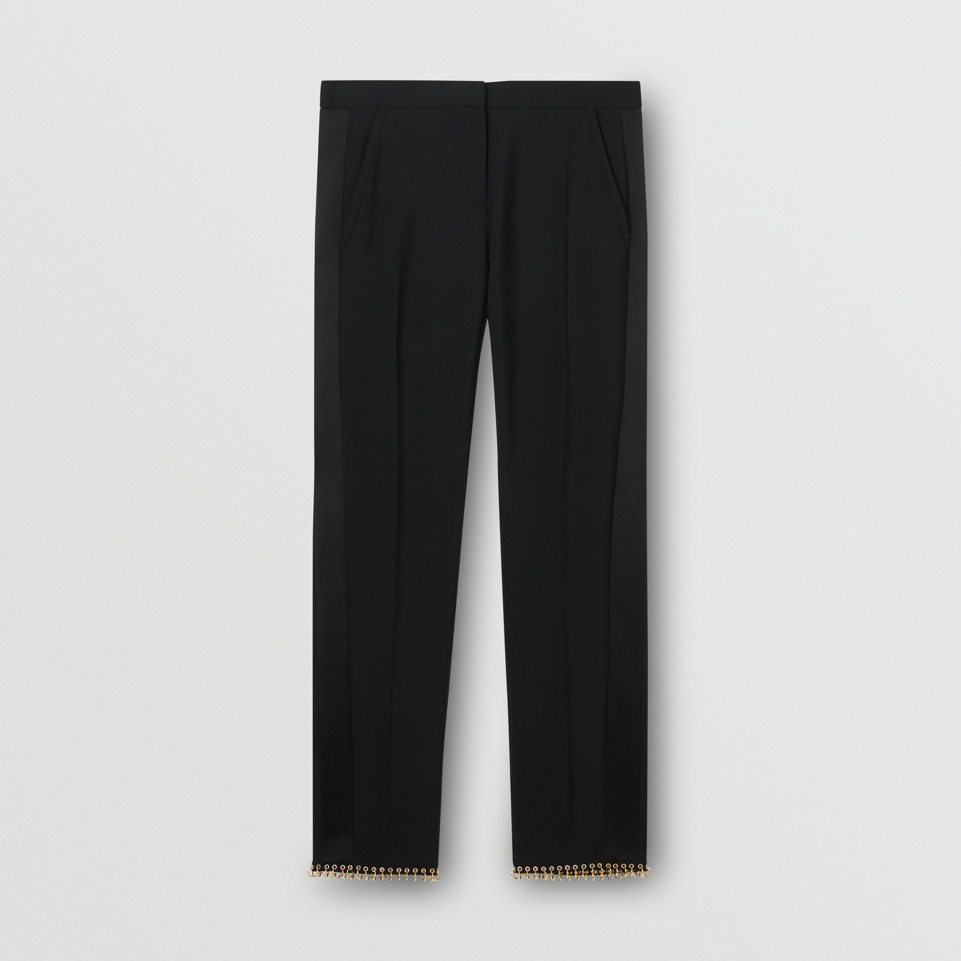 Ring-pierced Wool Tailored Trousers in Black - Women | Burberry Australia - gallery image 3