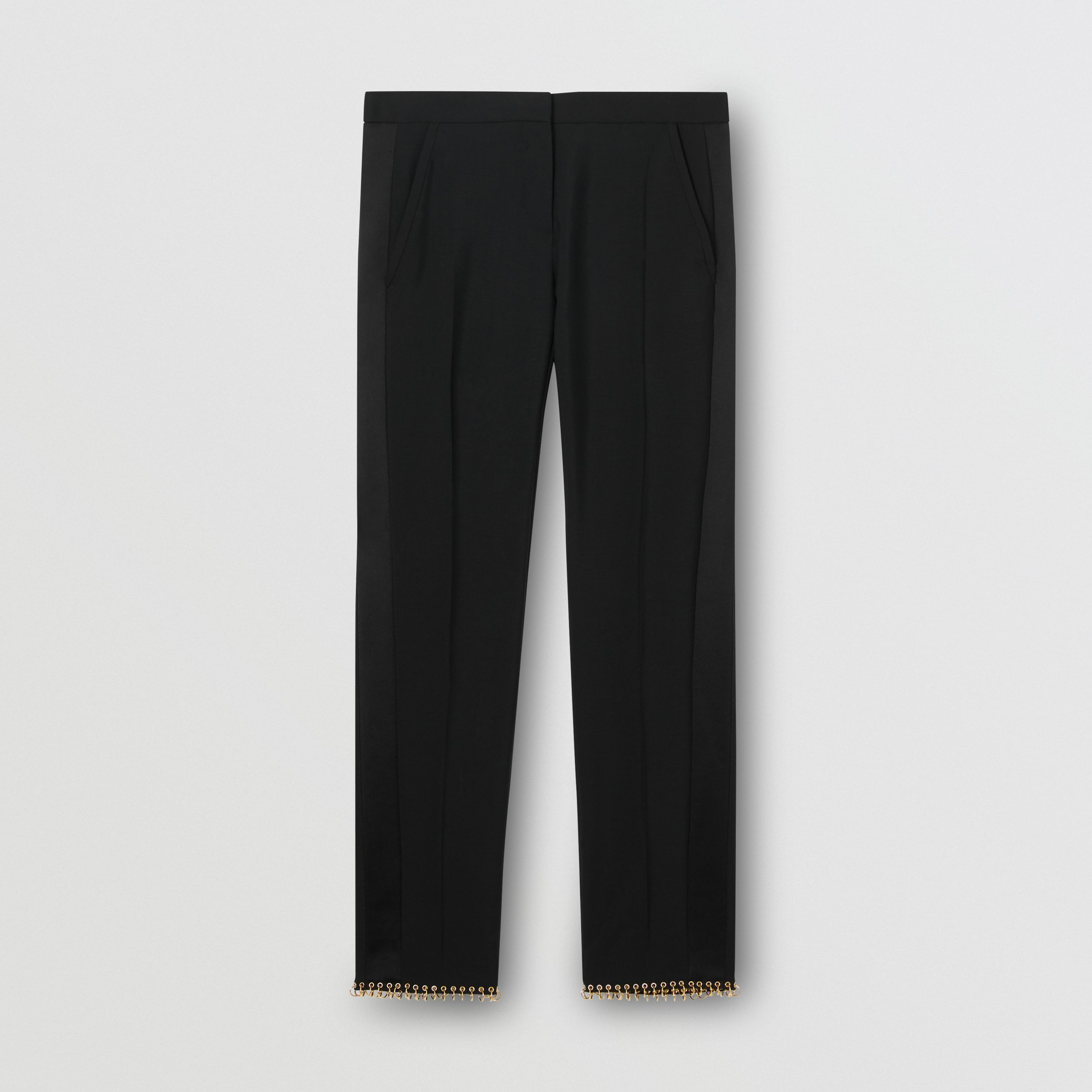 Ring-pierced Wool Tailored Trousers in Black - Women | Burberry - 4