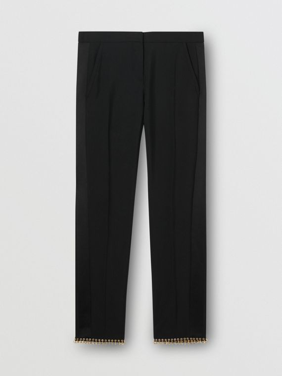 Ring-pierced Wool Tailored Trousers in Black