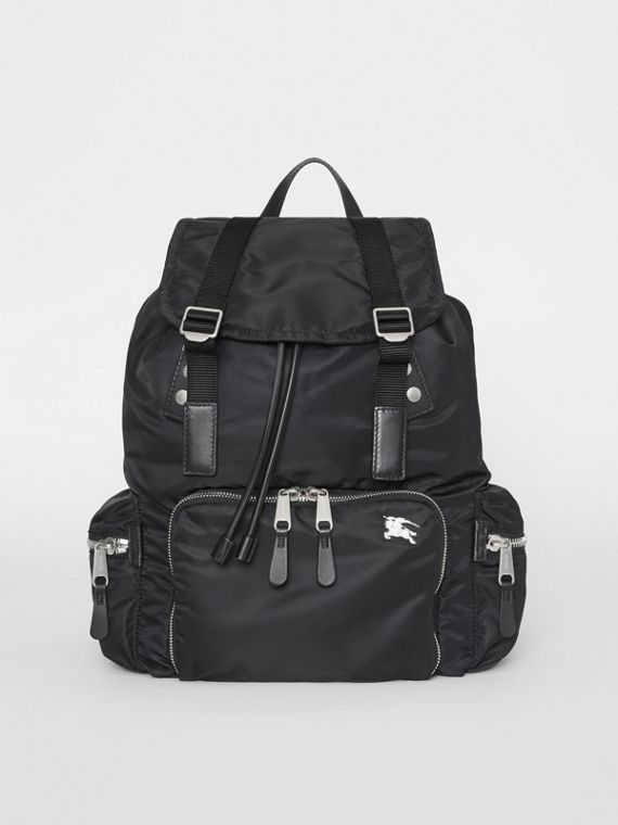 The Large Rucksack in Aviator Nylon and Leather in Black