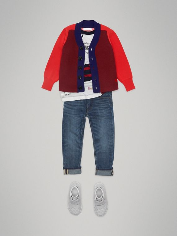 Colour Block Merino Wool Blend Cardigan in Burgundy - Boy | Burberry - cell image 2