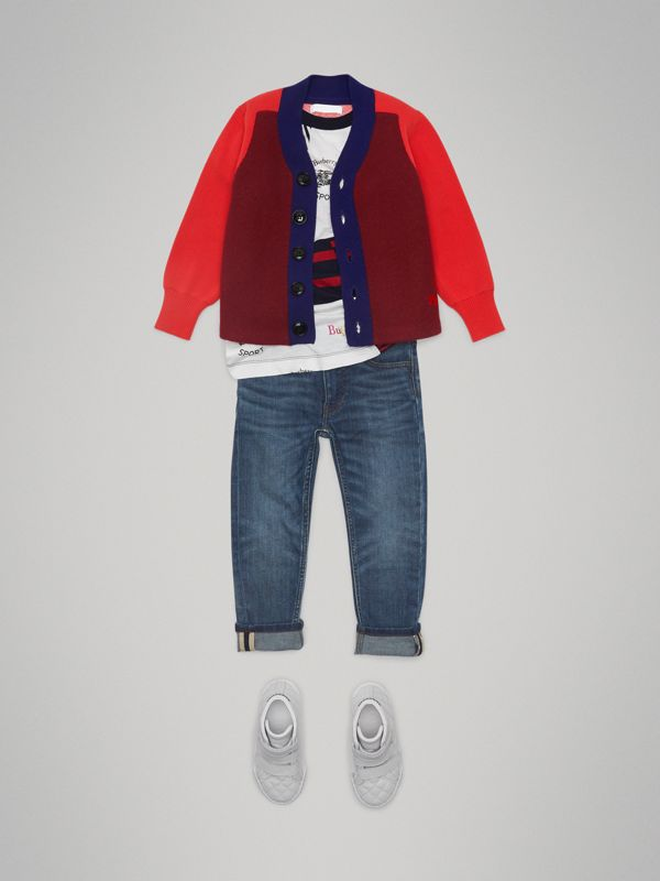 Colour Block Merino Wool Blend Cardigan in Burgundy | Burberry United Kingdom - cell image 2