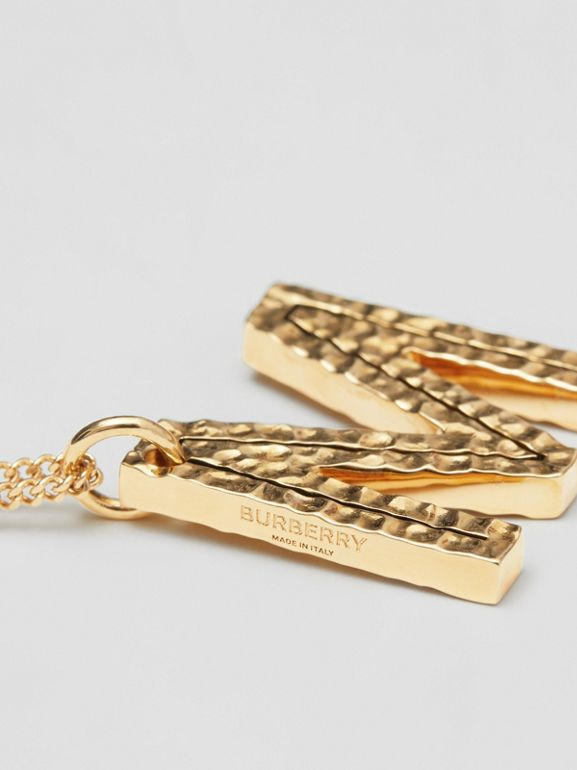 'M' Alphabet Charm Gold-plated Necklace in Light - Women | Burberry United Kingdom - cell image 1