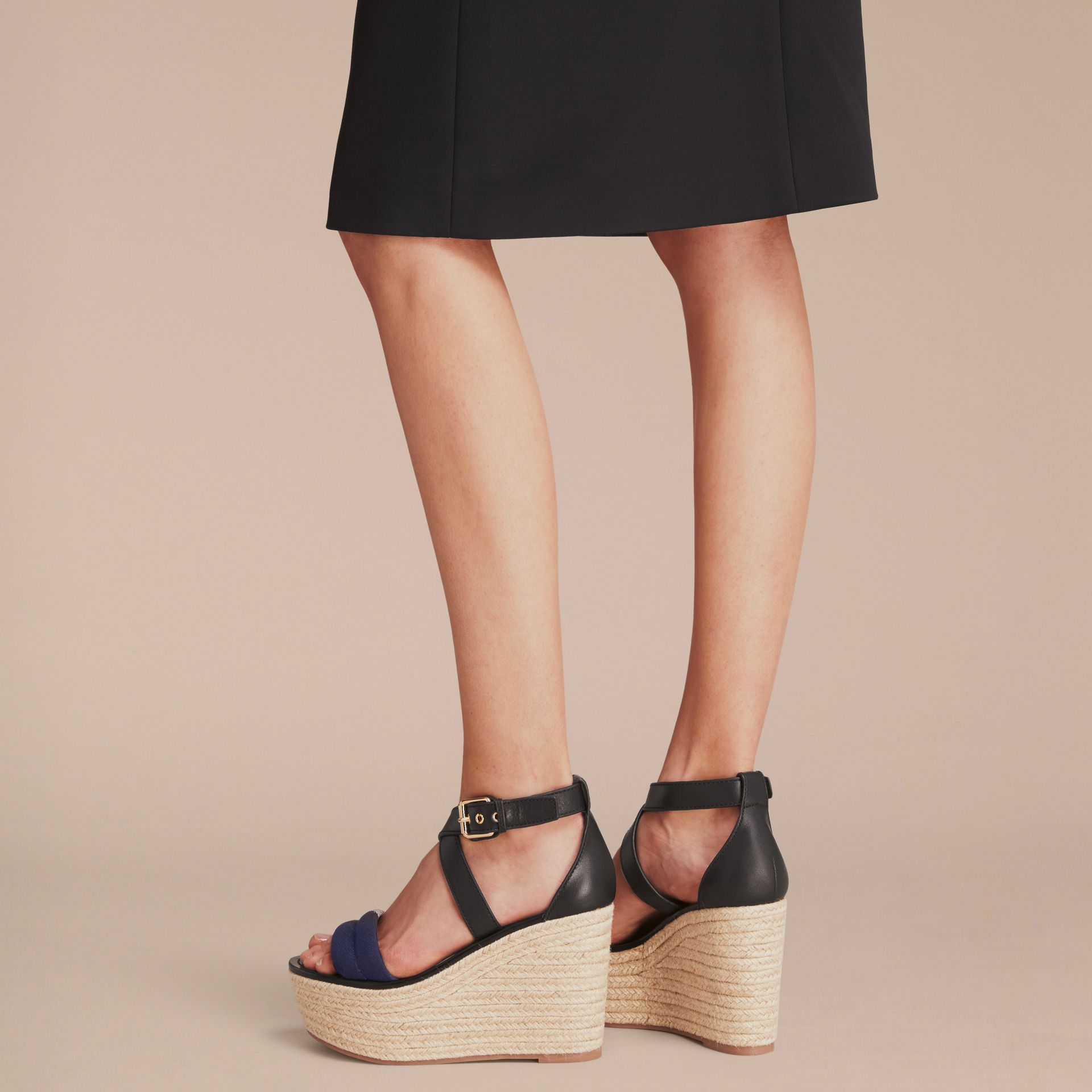 Leather and House Check Platform Espadrille Wedge Sandals Navy - gallery image 3