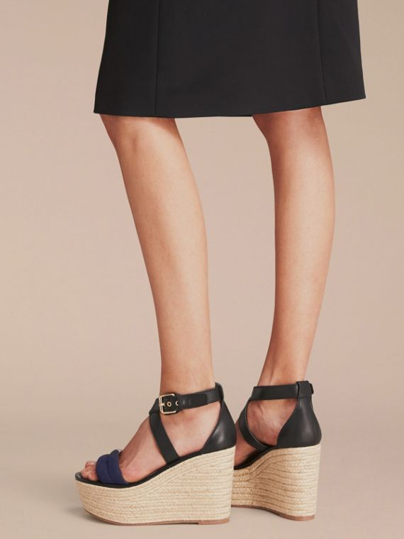 Leather and House Check Platform Espadrille Wedge Sandals in Navy - Women | Burberry - cell image 2