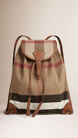 Canvas Check Backpack with Leather Trim