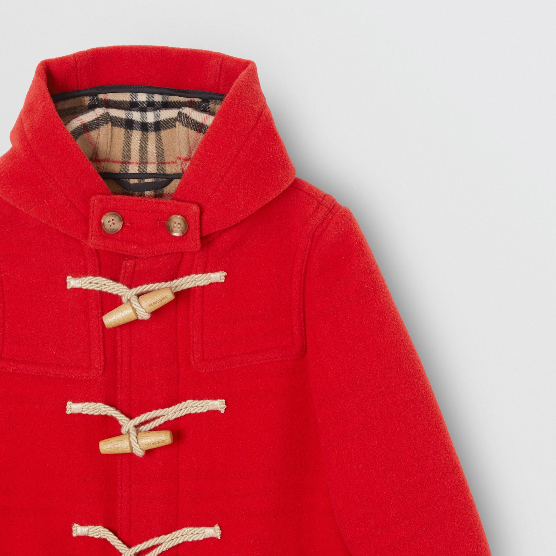 Double-faced Wool Duffle Coat in Bright Red | Burberry - gallery image 4