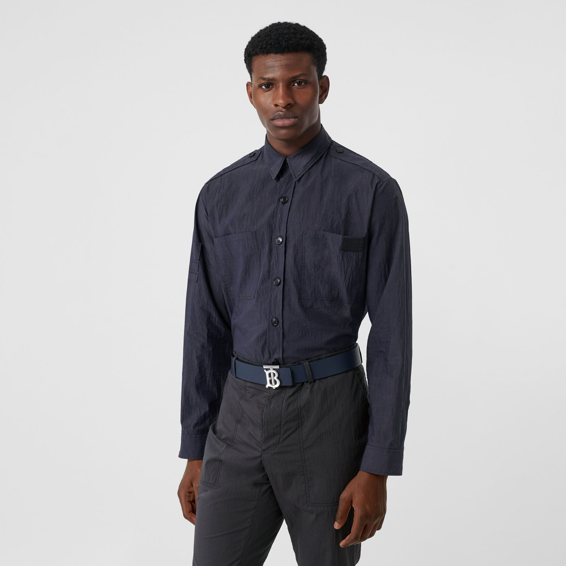 Crinkled Cotton Blend Shirt in Navy - Men | Burberry - gallery image 0