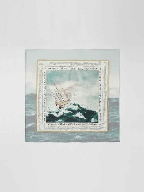 Mariner Print Silk Large Square Scarf in Deep Teal