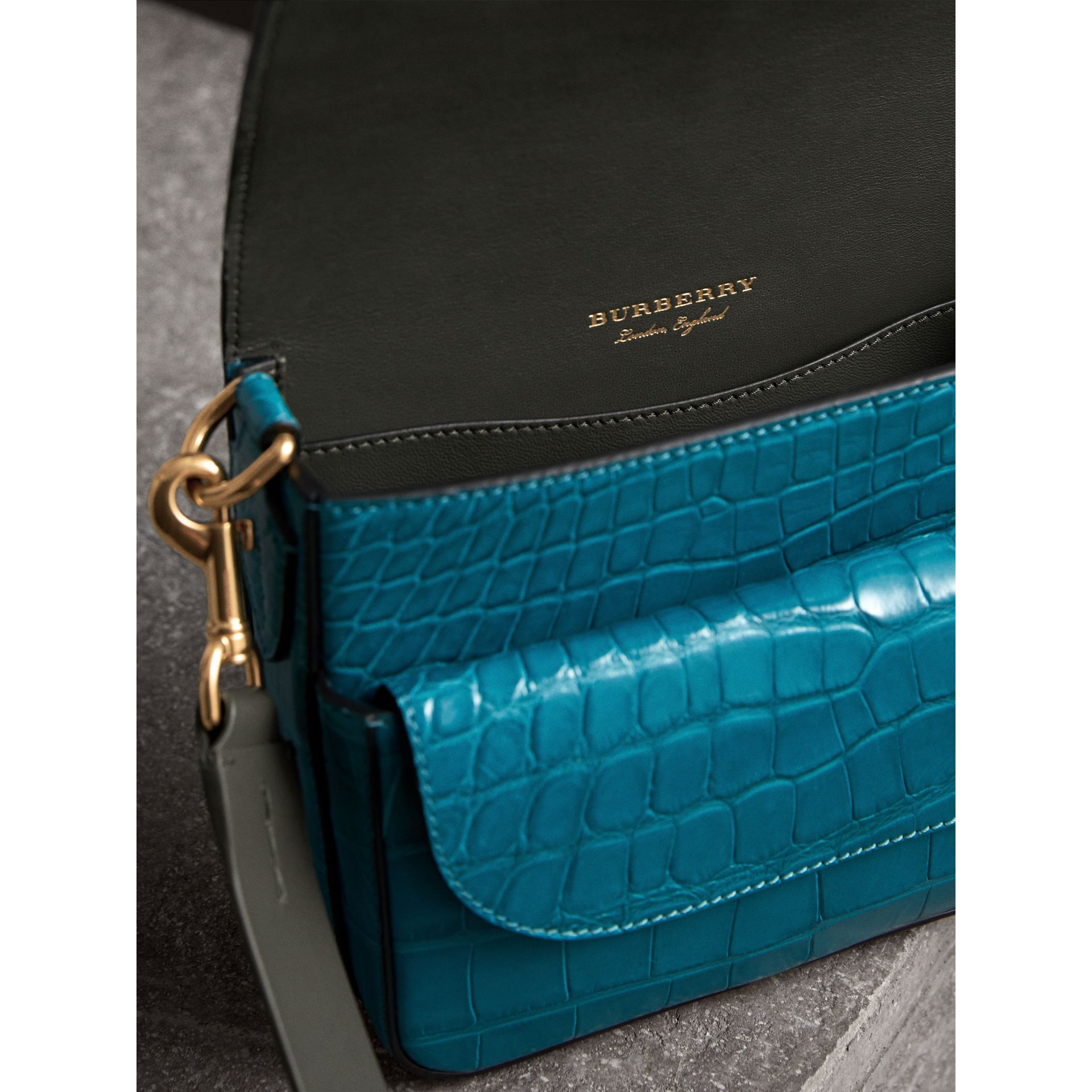 The Square Satchel in Alligator in Dark Teal - Women | Burberry United Kingdom - gallery image 6