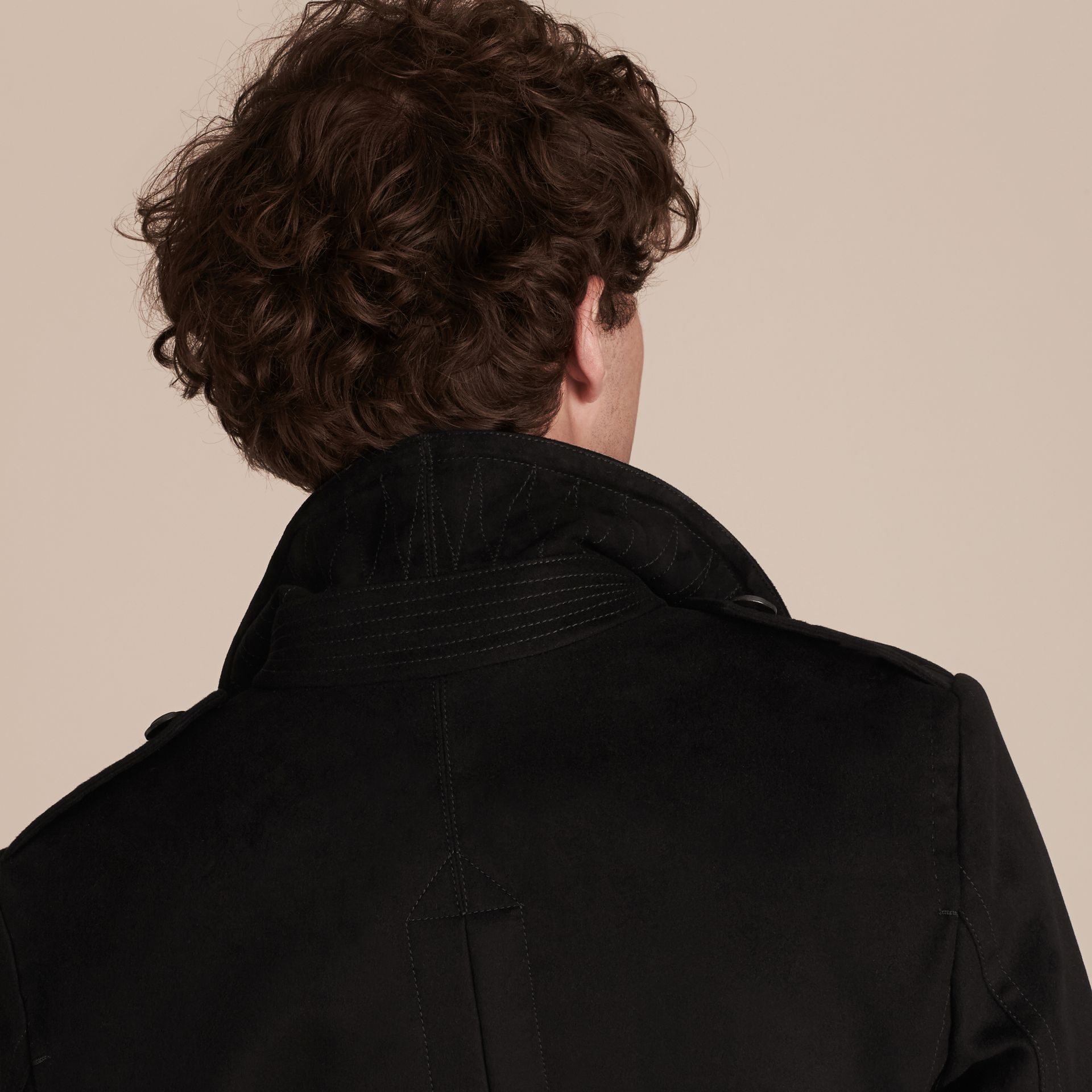 Black Technical-cotton Moleskin Pea Coat with Shearling Collar - gallery image 5