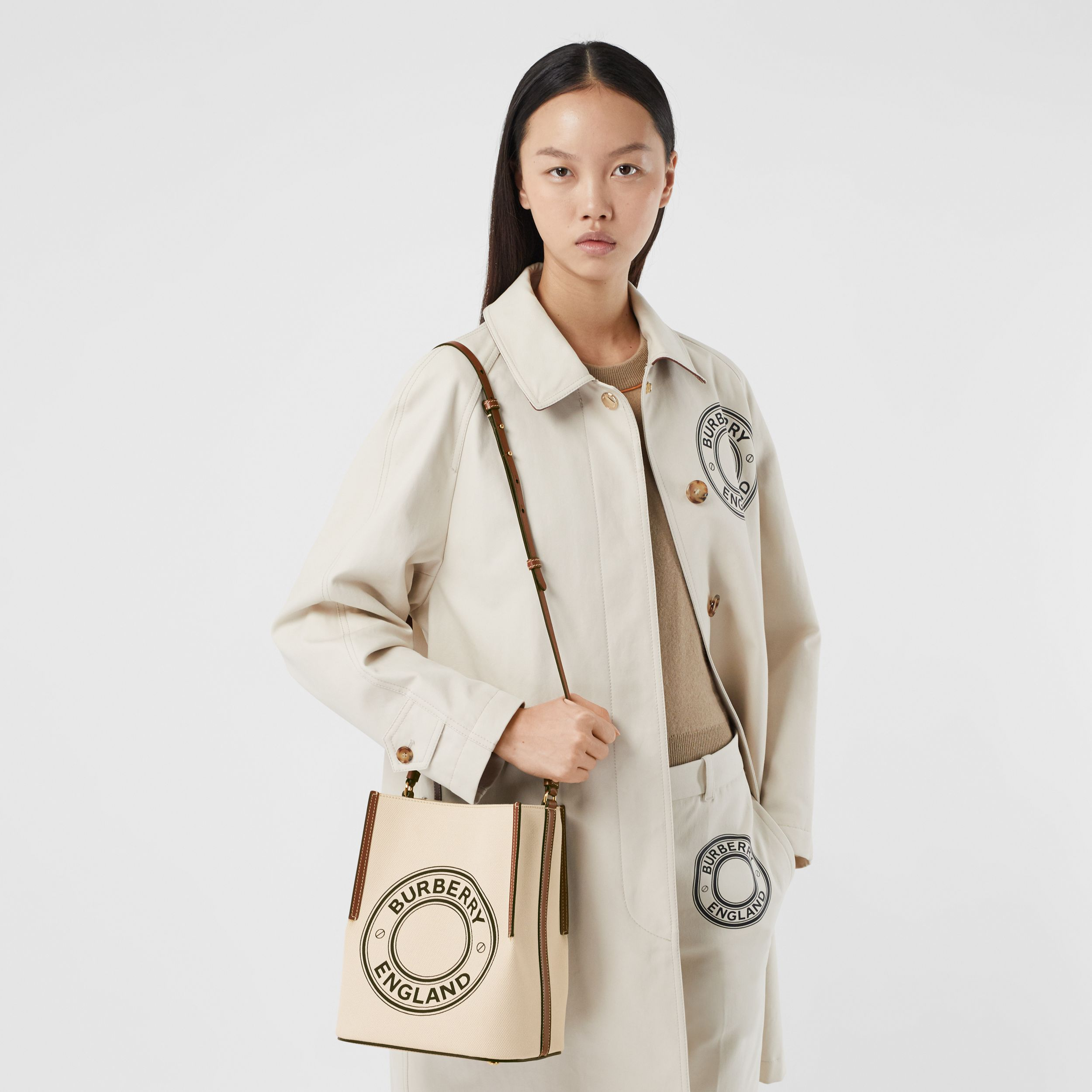 Small Logo Graphic Cotton Canvas Peggy Bucket Bag in Natural - Women | Burberry United States - 3