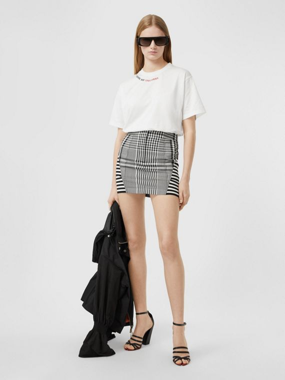 Oversize-T-Shirt aus Baumwolle mit Zitataufdruck (Weiß)