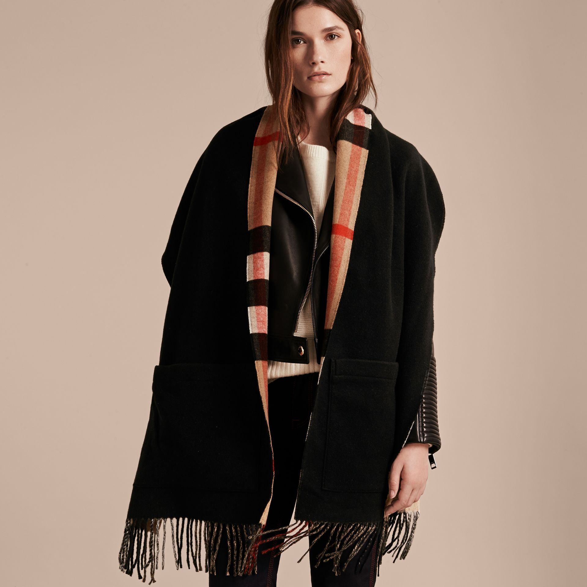 Check Lined Wool Cashmere Stole in Camel - gallery image 1