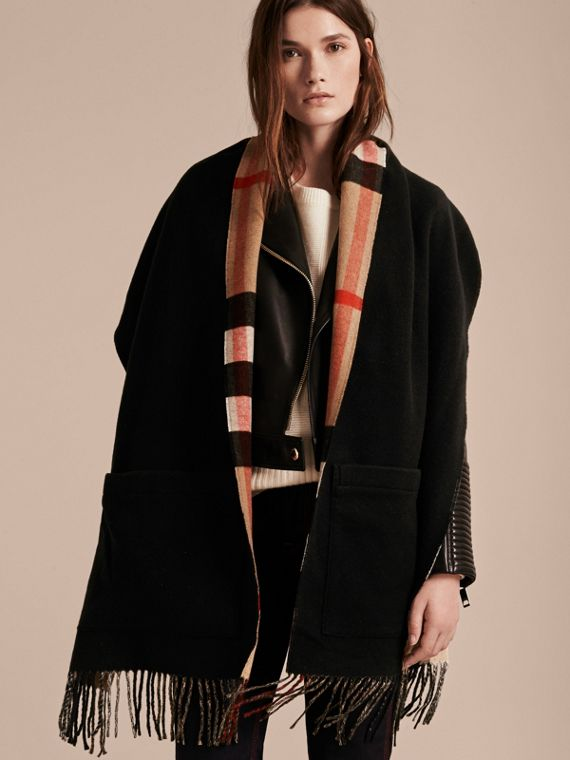 Check-lined Wool Cashmere Wrap in Black