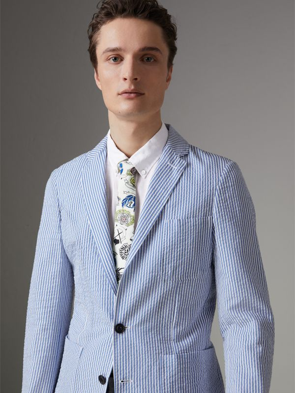 Slim Cut Emblem Print Silk Tie in Natural White - Men | Burberry - cell image 2