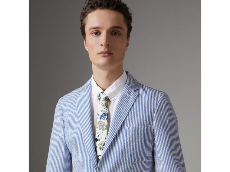 Slim Cut Emblem Print Silk Tie in Natural White - Men | Burberry United States - cell image 2