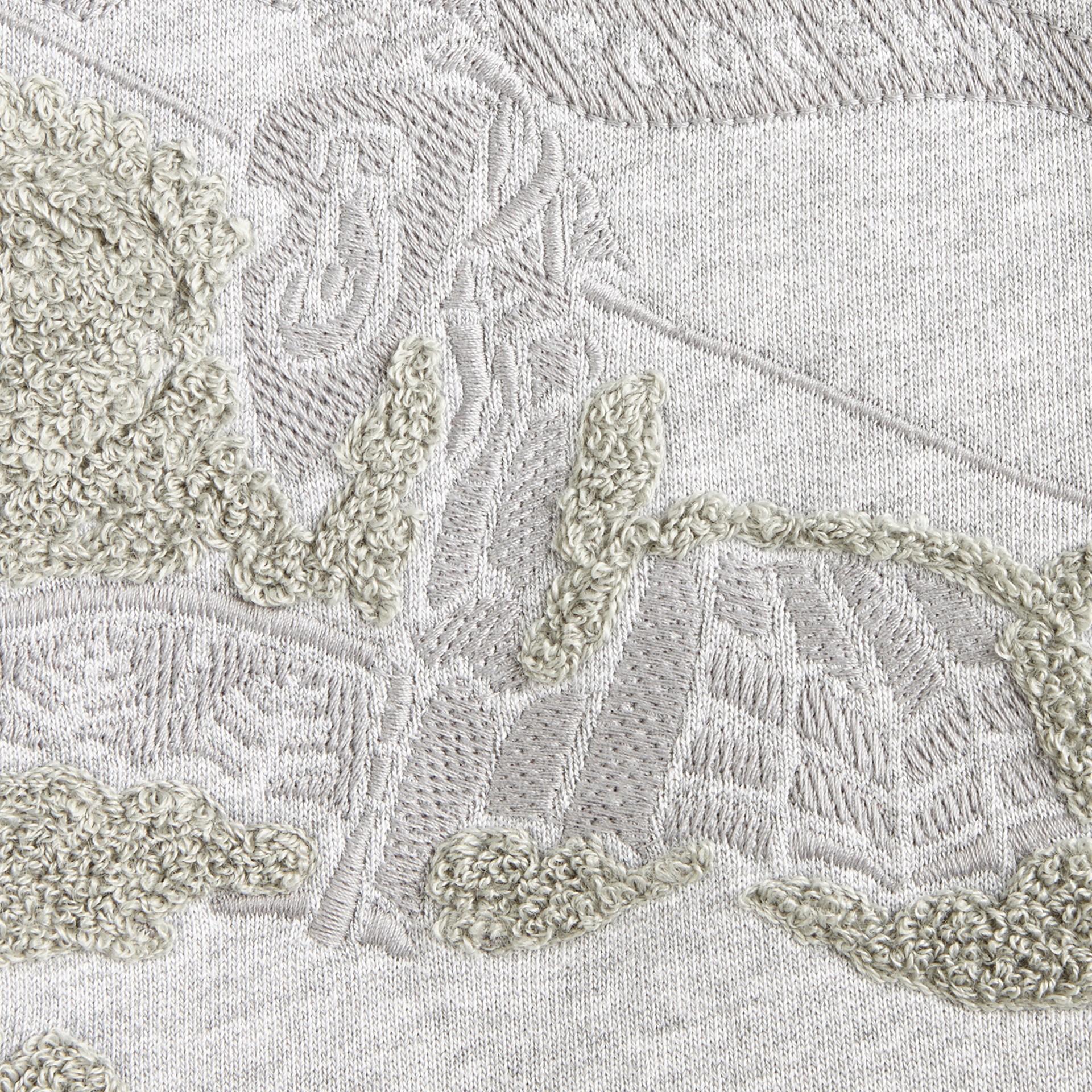 ミッドグレーメランジ エクエストリアン・ナイト・ディテール・コットン・スウェットシャツ - ギャラリーイメージ 2