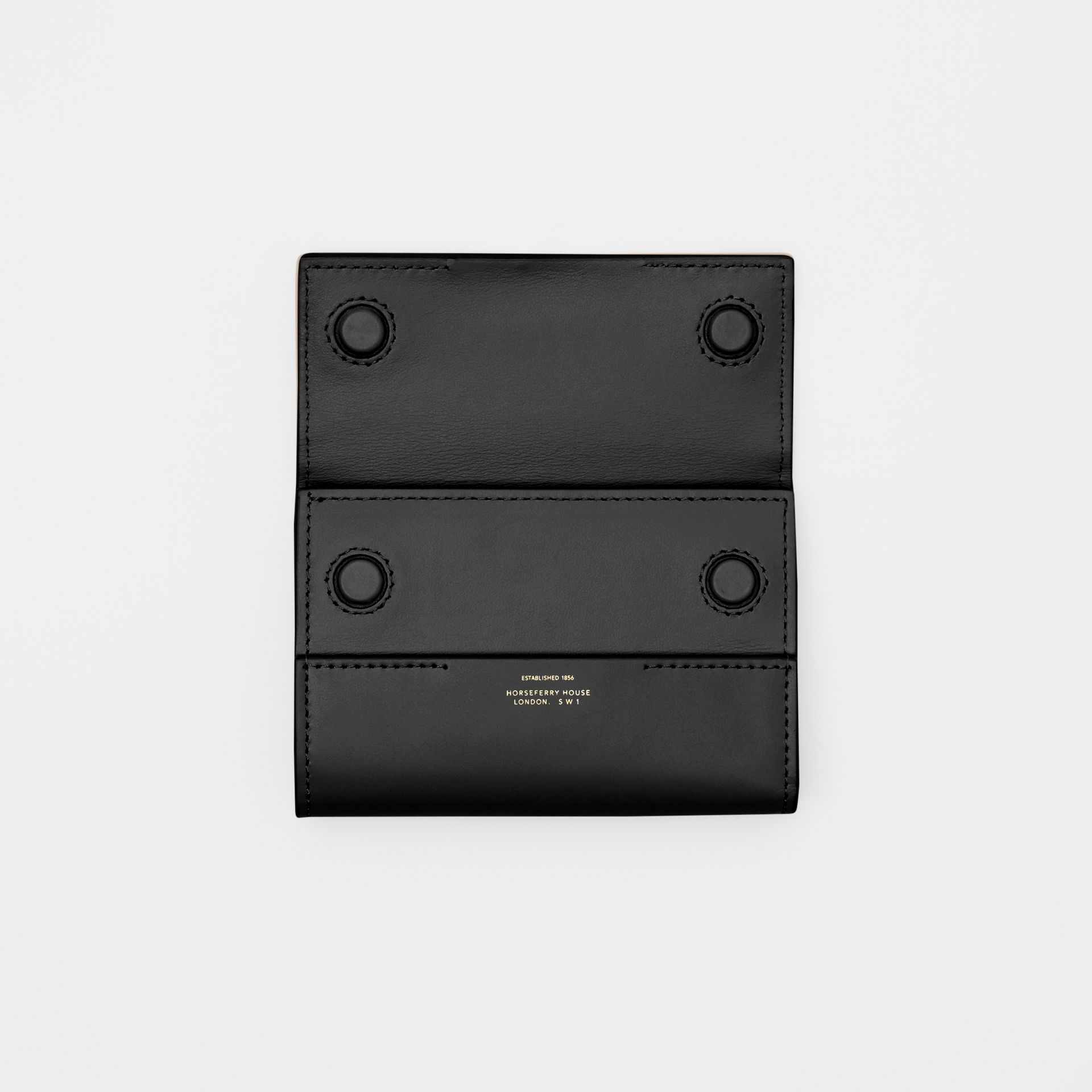 Horseferry Print Leather Folding Wallet in Black   Burberry - gallery image 5