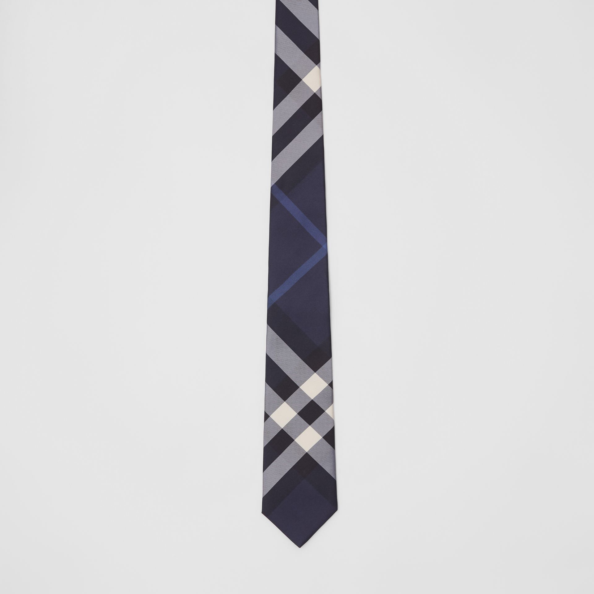 Classic Cut Check Silk Tie in Navy - Men | Burberry United Kingdom - gallery image 3