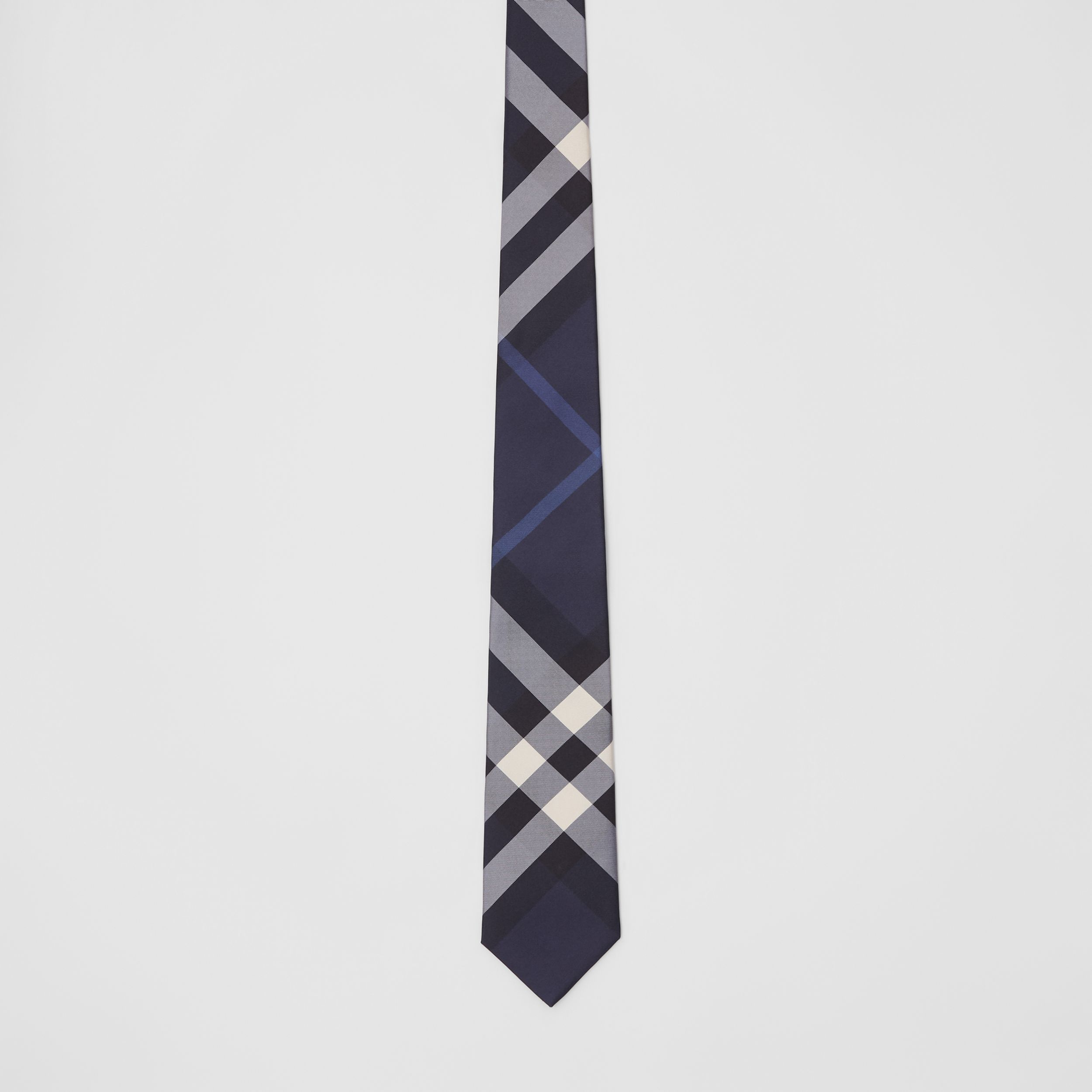 Classic Cut Check Silk Tie in Navy - Men | Burberry - 4
