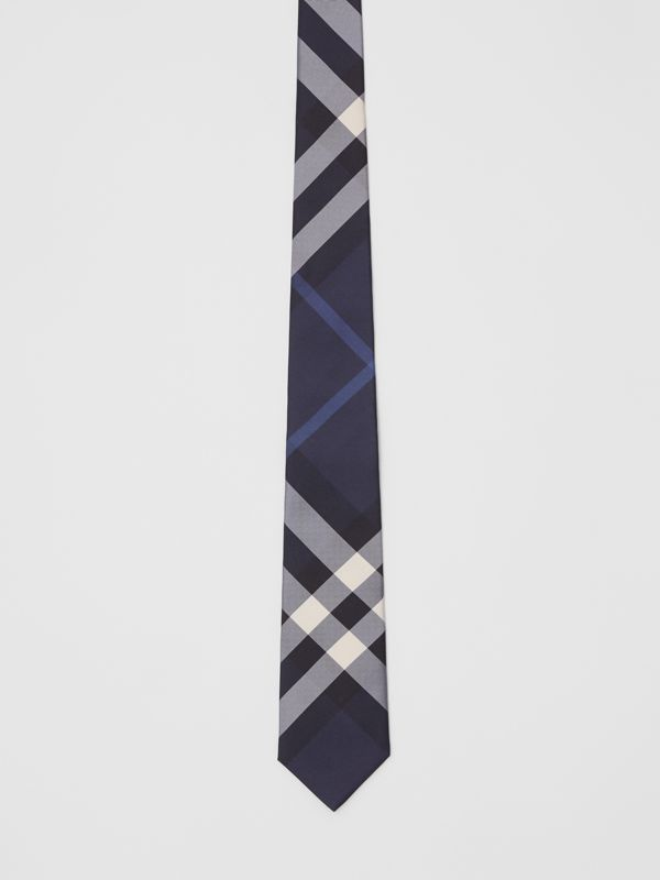 Classic Cut Check Silk Tie in Navy - Men | Burberry United Kingdom - cell image 3