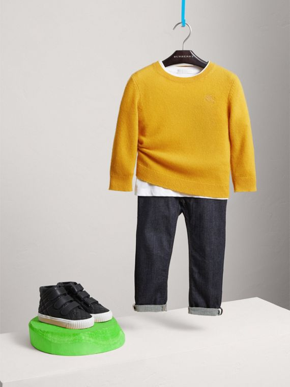 Check Elbow Patch Cashmere Sweater in Amber Yellow - Boy | Burberry - cell image 2