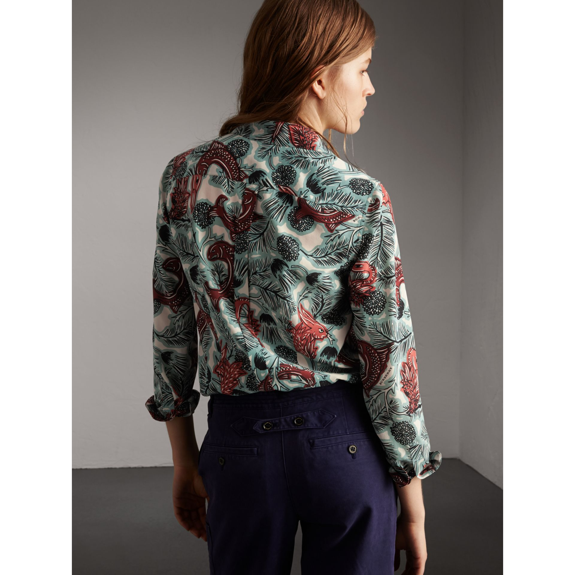 Beasts Print Silk Shirt in Pale Celadon - Women | Burberry - gallery image 3
