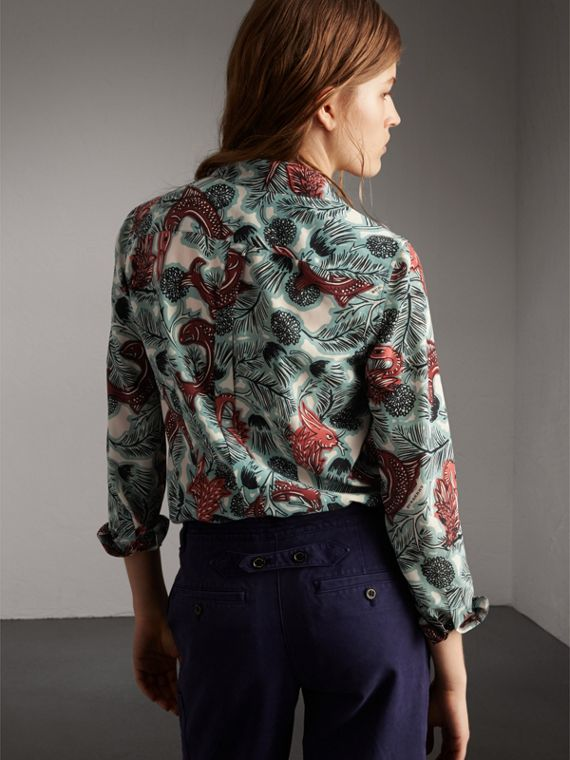 Beasts Print Silk Shirt in Pale Celadon - Women | Burberry - cell image 2