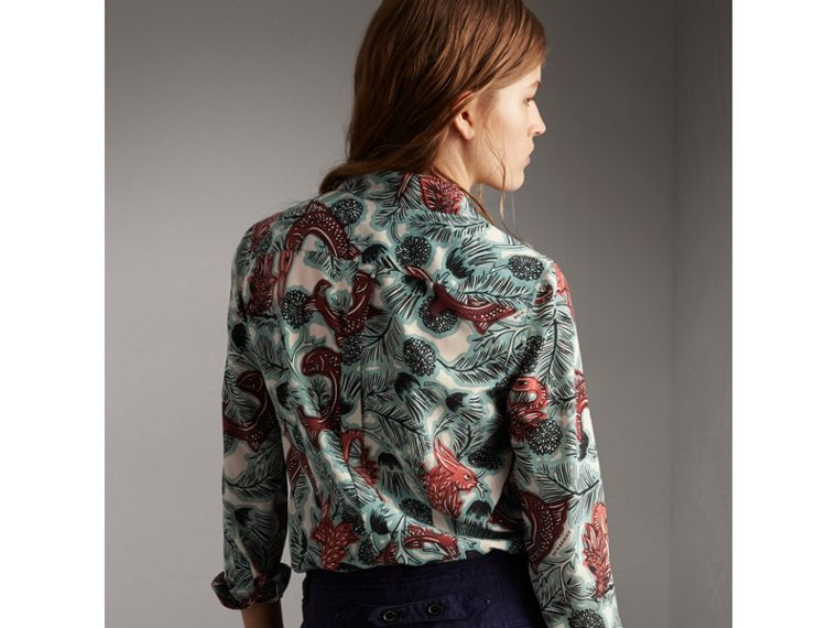 Beasts Print Silk Shirt - Women | Burberry - cell image 1