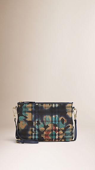 Floral Tie-dye Print Horseferry Check Clutch Bag