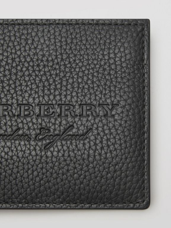 Embossed Leather Bifold Wallet in Black - Men | Burberry Hong Kong - cell image 1