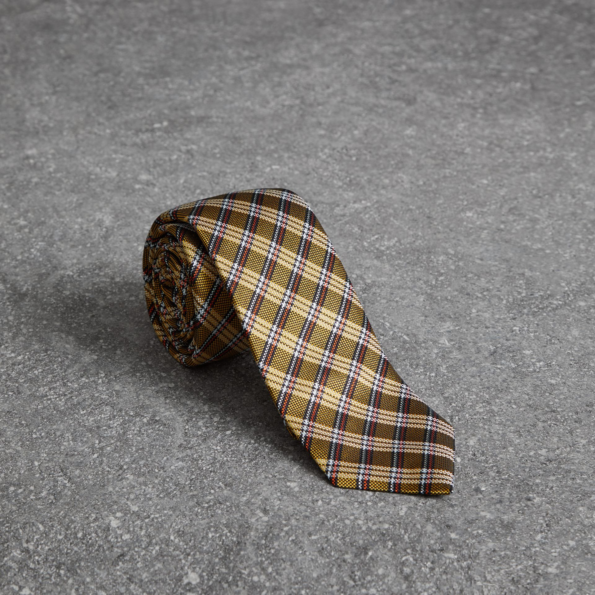 Slim Cut Check Silk Jacquard Tie in Saffron Yellow - Men | Burberry United Kingdom - gallery image 0