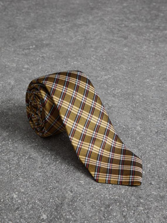Slim Cut Check Silk Jacquard Tie in Saffron Yellow