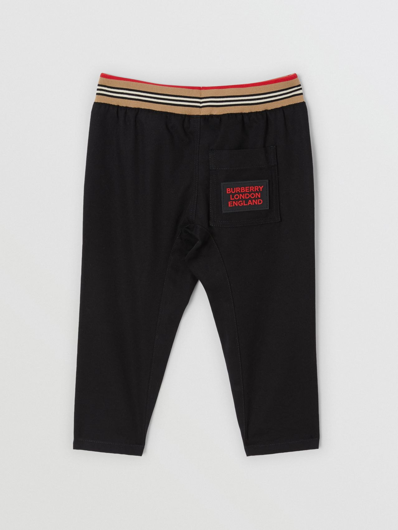 Icon Stripe Detail Cotton Twill Drawcord Trousers (Black)