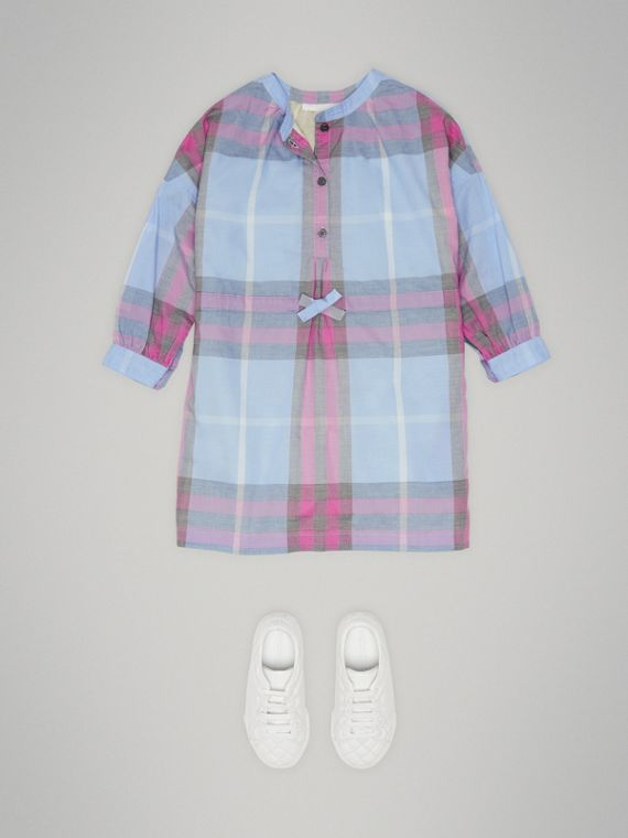 Check Cotton Shirt Dress in Chalk Blue - Girl | Burberry - cell image 2