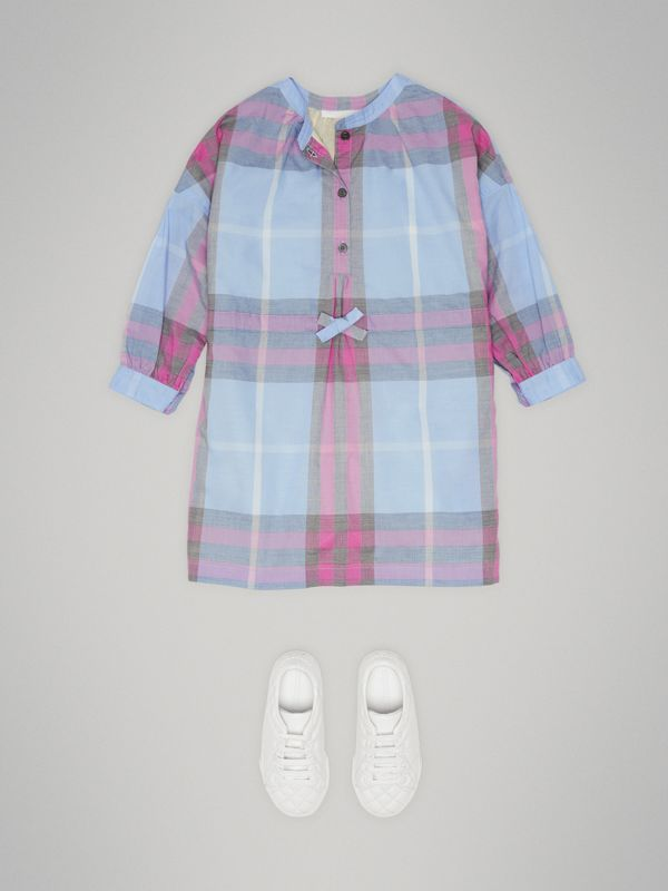 Check Cotton Shirt Dress in Chalk Blue | Burberry - cell image 2