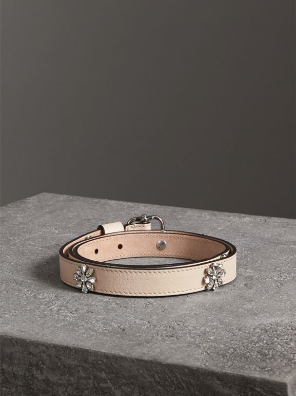 Crystal Daisy Leather Belt in Stone - Women | Burberry - cell image 1
