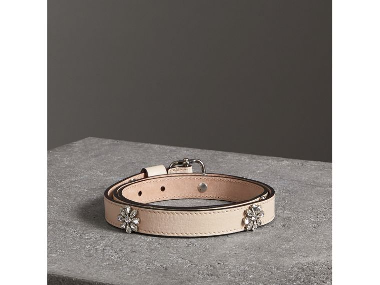 Crystal Daisy Leather Belt in Stone - Women | Burberry United Kingdom - cell image 1