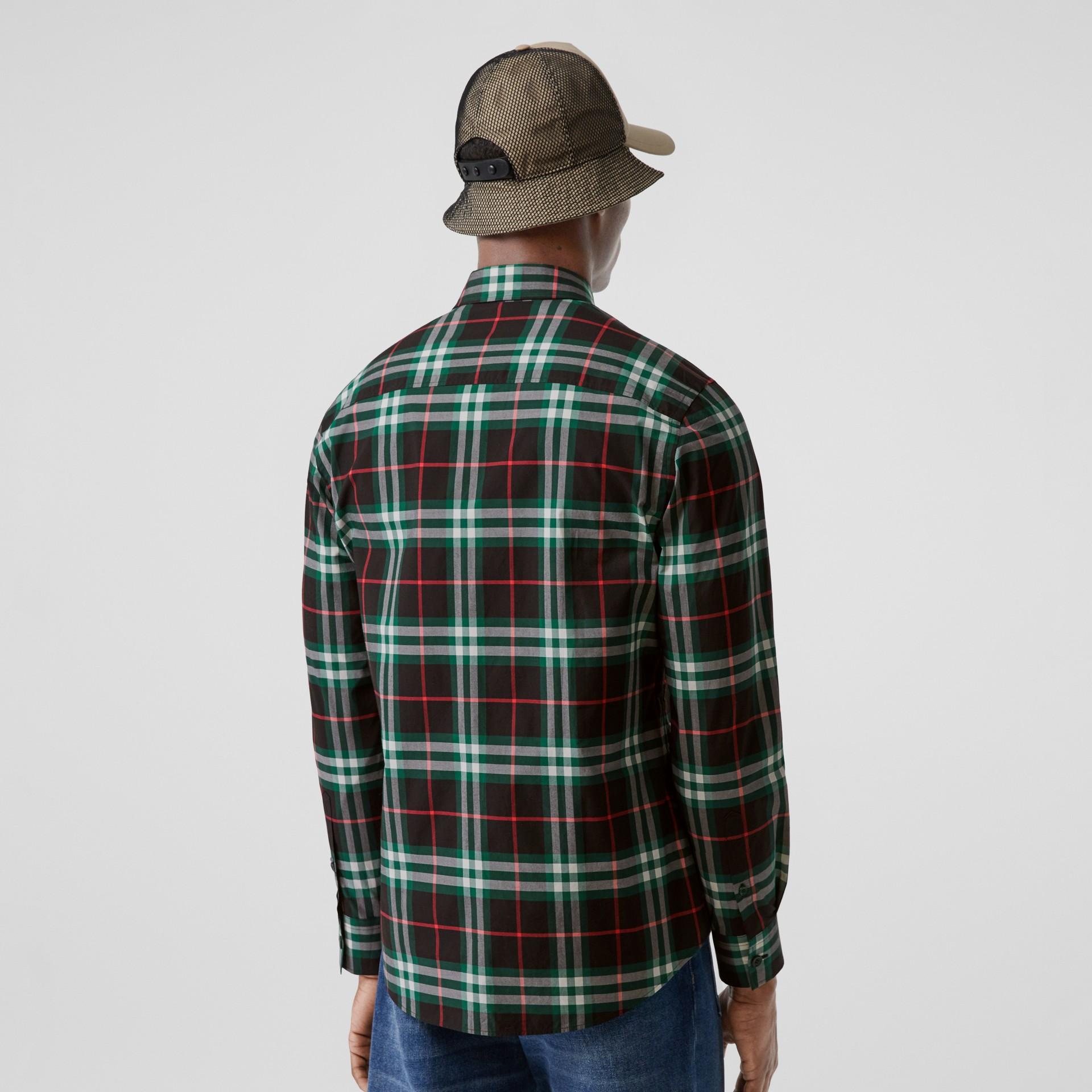 Check Cotton Poplin Shirt in Viridian Green - Men | Burberry - gallery image 2