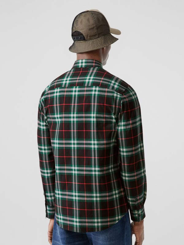 Check Cotton Poplin Shirt in Viridian Green - Men | Burberry - cell image 2