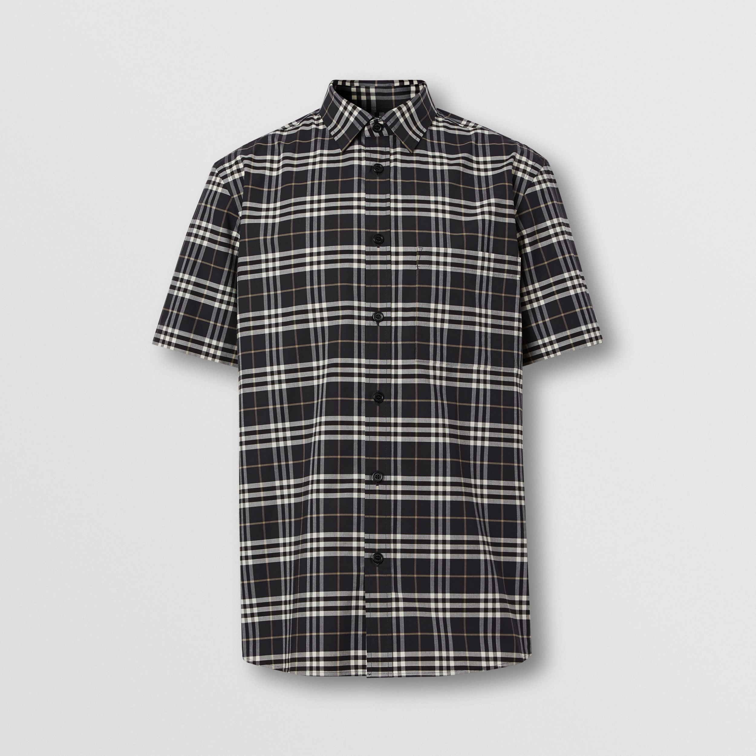 Short-sleeve Small Scale Check Stretch Cotton Shirt in Dark Regency Blue - Men | Burberry - 4