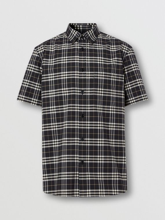 Short-sleeve Small Scale Check Stretch Cotton Shirt in Dark Regency Blue