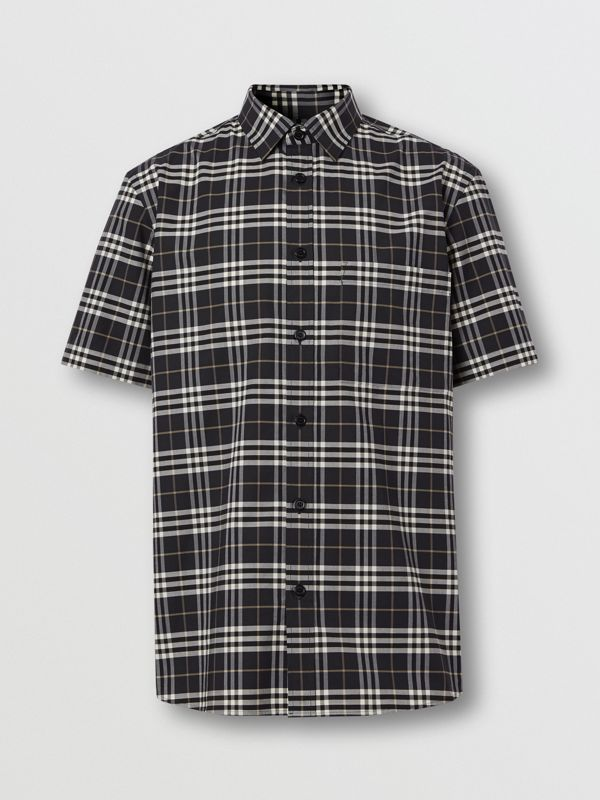 Short-sleeve Small Scale Check Stretch Cotton Shirt in Dark Regency Blue - Men | Burberry - cell image 3