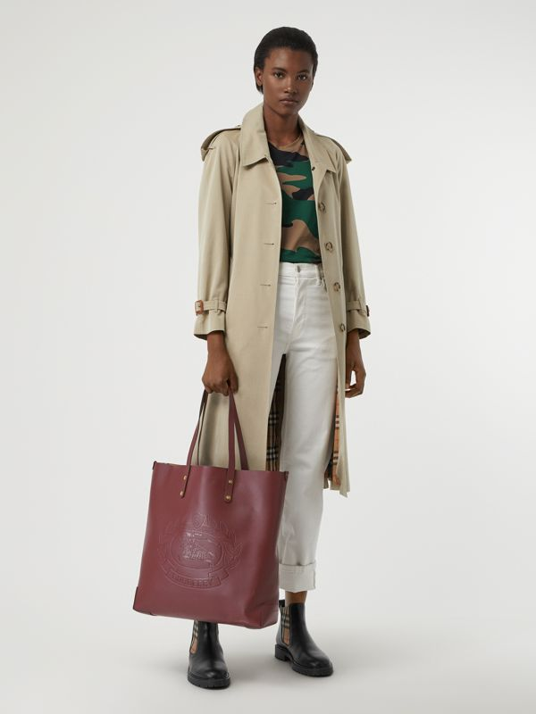 Large Embossed Crest Leather Tote in Burgundy | Burberry Australia - cell image 2